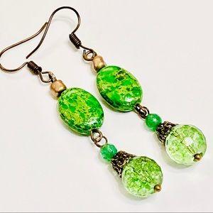 Bright Green Sea Sediment Jasper Crystal Earrings